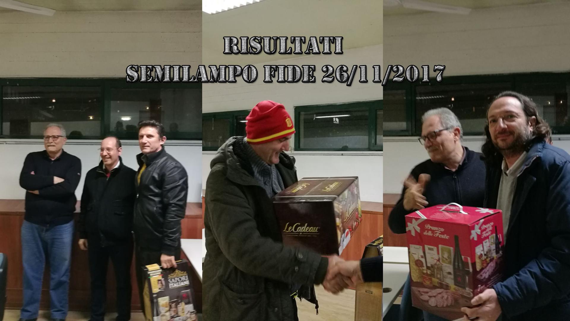 RISULTATI – Semilampo 26/11/2017
