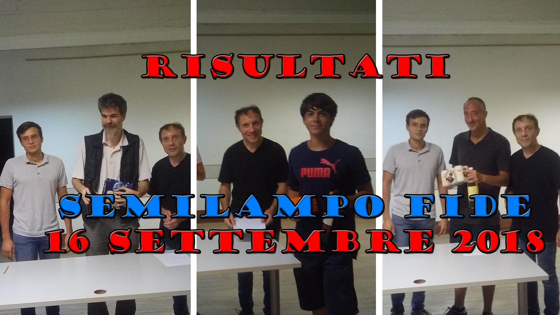 RISULTATI – Semilampo 16/09/2018